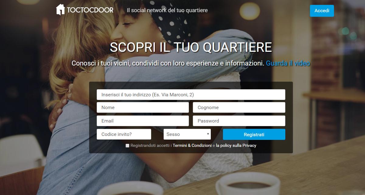 "Toctocdoor social network, la nuova community di ""quartiere"""