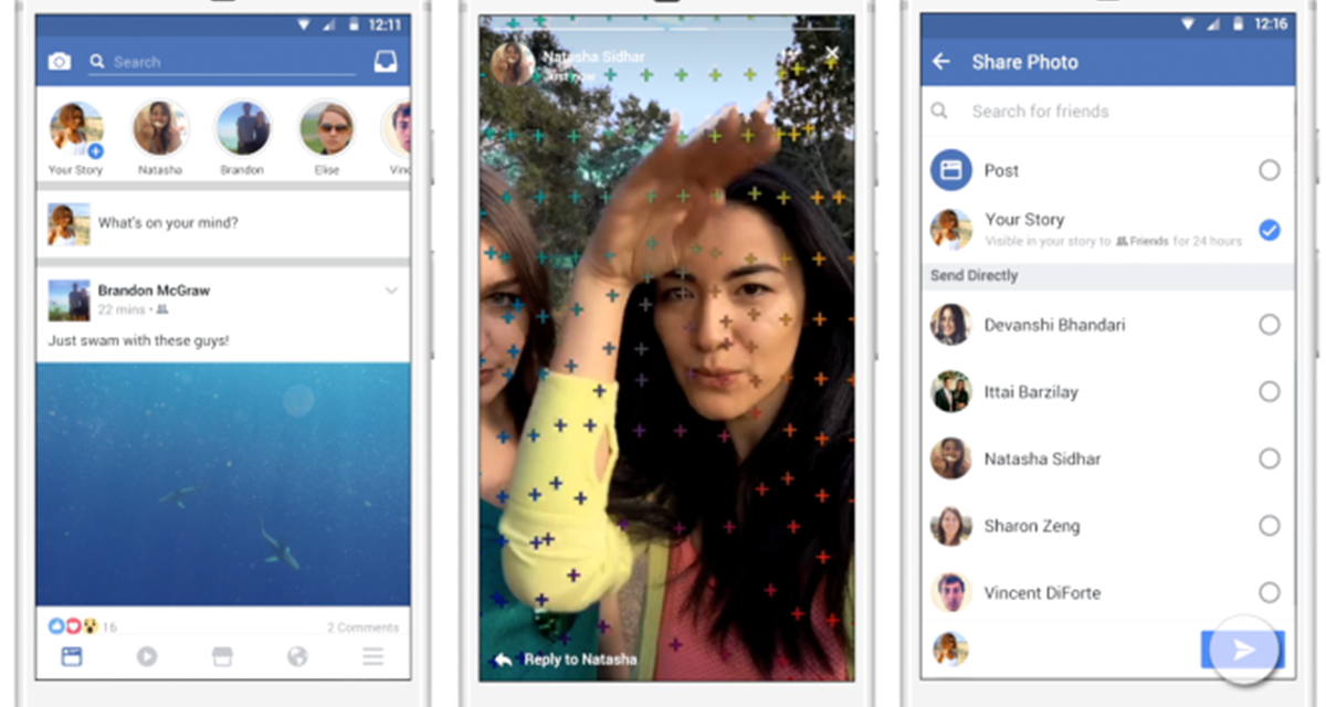 Facebook Stories, arrivano in fase di test, copiando Instagram e Snapchat