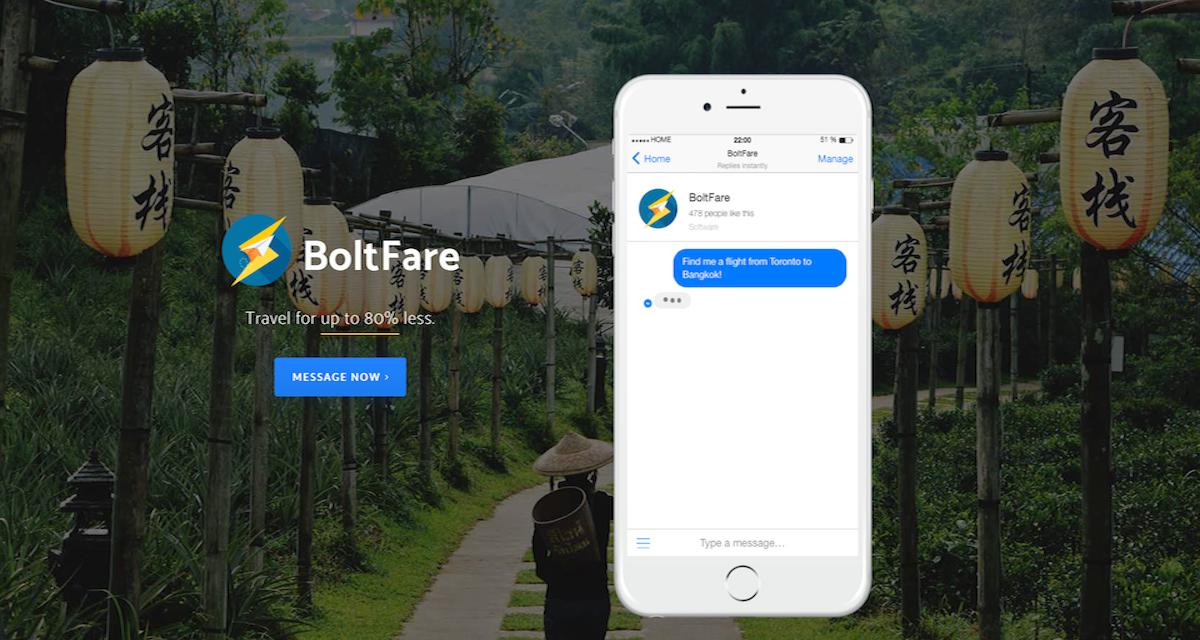 BoltFare app: il travel chat bot per la ricerca mirata dei Voli