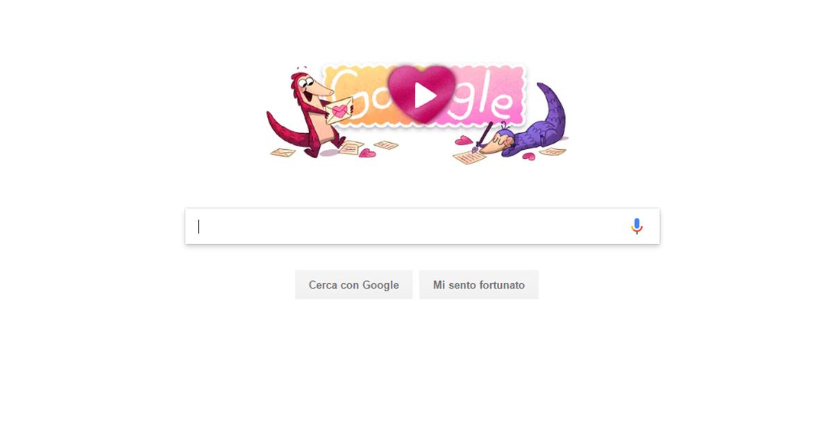Doodle Google San Valentino 2017, arriva il pangolino