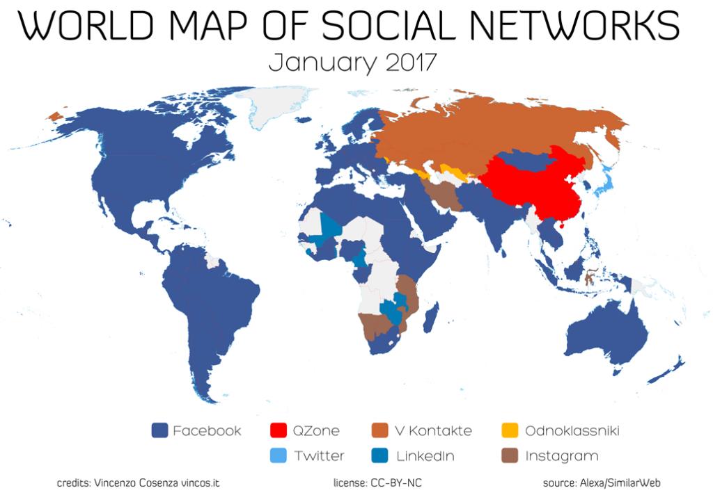 Mappa dei social: Facebook arretra in Russia e Africa